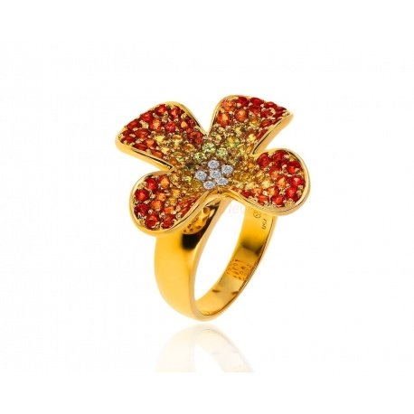 олотое кольцо с бриллиантами 0.28ct и сапфирами 0.45ct