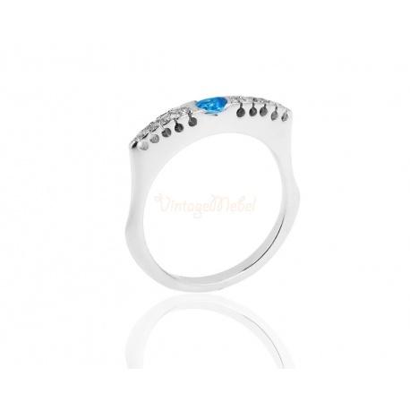 Золотое кольцо с топазом и бриллиантами 0.43ct