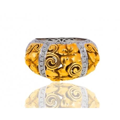 Матовое золотое кольцо с бриллиантами 0.30ct