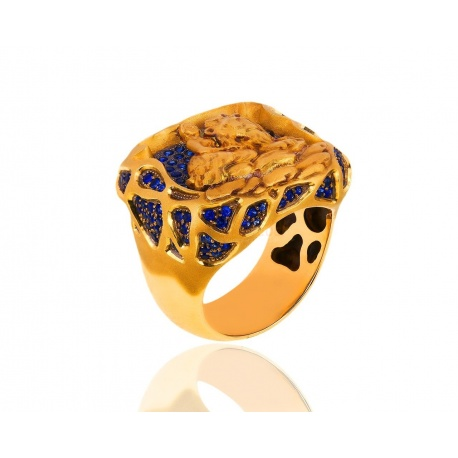 Золотое кольцо с сапфирами 2.83ct