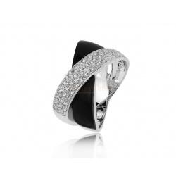 Золотое кольцо с ониксом и бриллиантами 0.43ct