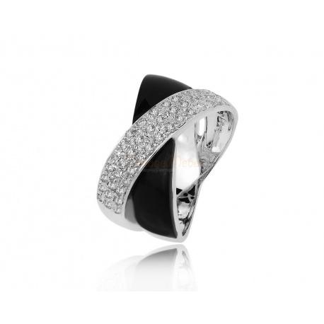 Золотое кольцо с ониксом и бриллиантами 0.14ct