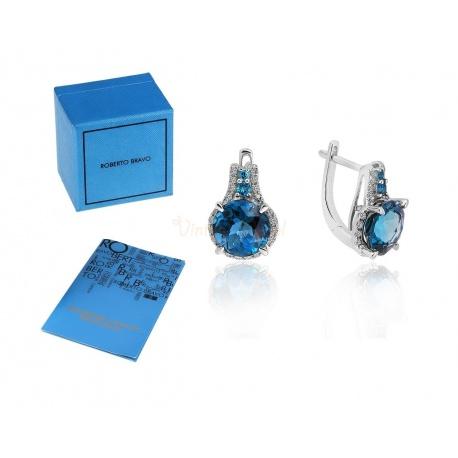 Золотые серьги с бриллиантами и топазами Roberto Bravo
