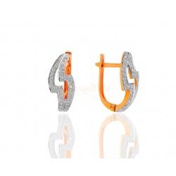 Золотые серьги с бриллиантами 0.14ct