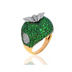 Достойное кольцо с тсаворитами и бриллиантами