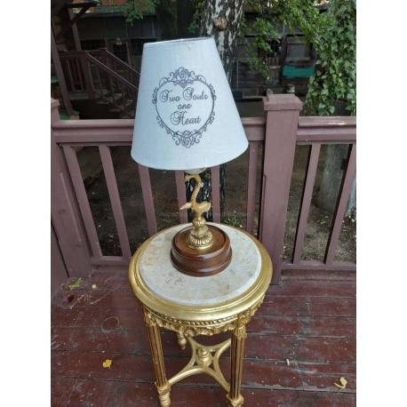 Настольная лампа с фарфором и бронзой