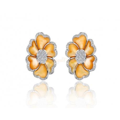 Романтичные золотые серьги с бриллиантами 1.20ct