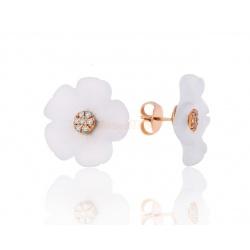 """Изумительные серьги с бриллиантами """"Белый цветок"""""""