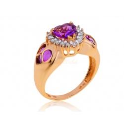 Золотое кольцо с аметистами 2.01ct