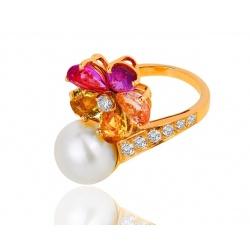 Золотое кольцо с жемчугом и бриллиантами 0.52ct Bvlgari