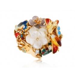 золотое кольцо с цветными камнями 0.14ct