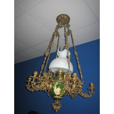 Антикварная лампа с хрусталем, 1890 г.