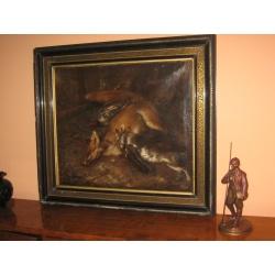 Картина антикварная охотничья
