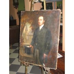 """Антикварный портрет """"Мужчина с цилиндром"""""""