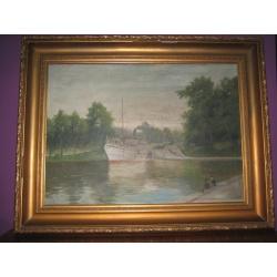"Старинная картина ""Пароход на реке """