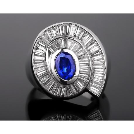 Итальянское бриллиантовое кольцо с сапфиром 0.75ct