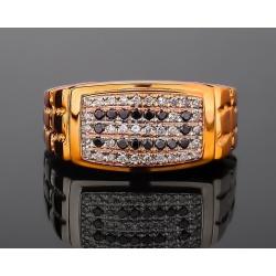 Массивное золотое кольцо с бриллиантами