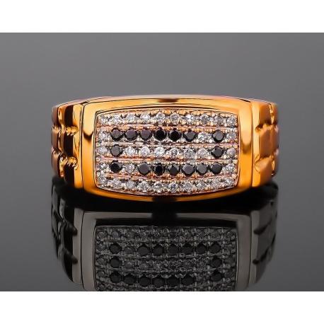 Массивное золотое кольцо с бриллиантами Артикул: 210317/13