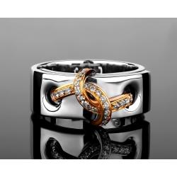 Итальянское золотое кольцо с бриллиантами 0.21ct