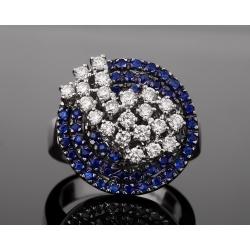 Кольцо усыпанное сапфирами и бриллиантами