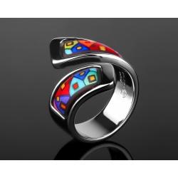 Цветное золотое кольцо Frey Wille c эмалями