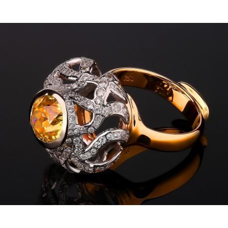 Восточное бриллиантовое кольцо с ярким цитрином Артикул: 210217/4