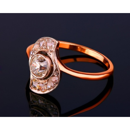 Старинное золотое кольцо с бриллиантами 0.84ct Артикул: 040317/1