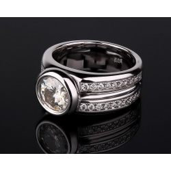 Бриллиантовое кольцо с муассанитом 1.80ct