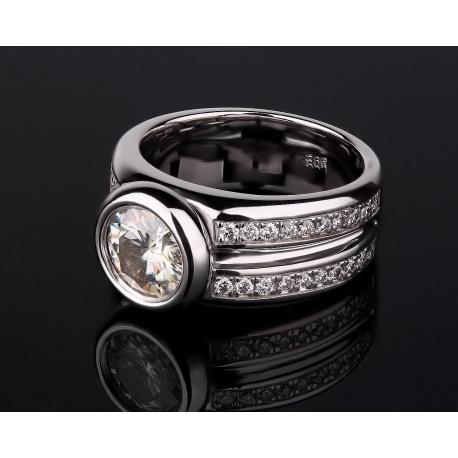 Бриллиантовое золотое кольцо с муассанитом 1.80ct Артикул: 020317/1