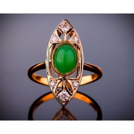 Нарядное золотое кольцо с бриллиантами и нефритом Артикул: 120217/24
