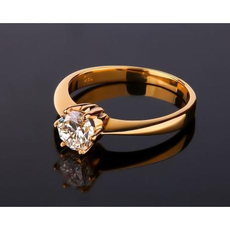 Помолвочное золотое кольцо с бриллиантом 1 карат Артикул: 130117/6