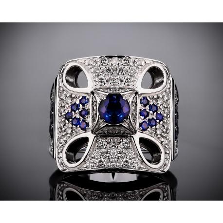 Zancan золотое кольцо с бриллиантами и сапфирами Артикул: 301216/5
